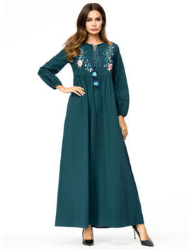 Retro Ethnic Embroidery Tassel Muslim Women Longsleeve Maxi Dress Arab Gown Robe by Unbranded