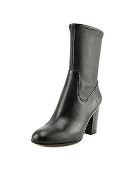 Coach Bond Women Round Toe Leather Black Mid Calf Boot by Coach