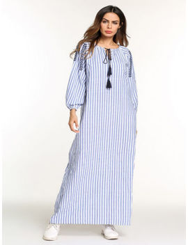 Embroidery Long Dress Striped Tassel Muslim Islamic Maxi Abaya Casual Robe Gowns by Unbranded