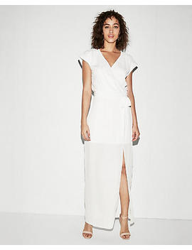 Rolled Sleeve Surplice Maxi Dress by Express