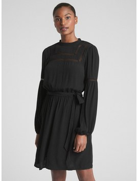 Long Sleeve Lace Trim Dress by Gap