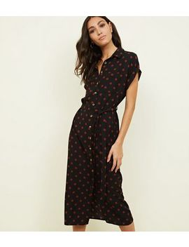 Tall Spotted Twill Midi Shirt Dress by New Look