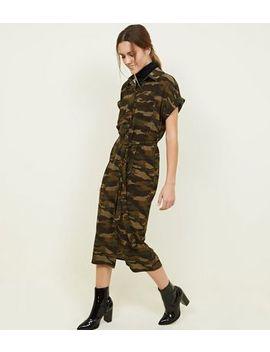 Green Camo Print Midi Shirt Dress by New Look