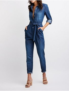 Chambray Button Up Jumpsuit by Charlotte Russe