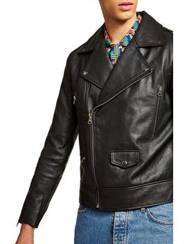Classic Fit Leather Biker Jacket by Topman