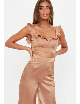 Bronze Ruffle Satin Bralet by Missguided