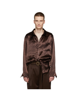 Brown Satin Sander Shirt by Sies Marjan