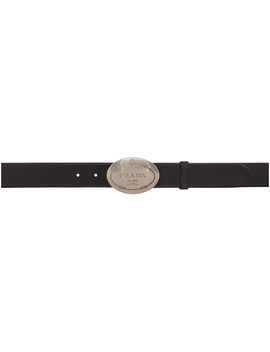 Black Leather Logo Belt by Prada