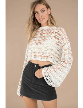 Lost Love Ivory Crop Sweater by Tobi