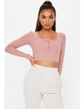 Rose Scoop Neck Rib Crop Top by Missguided
