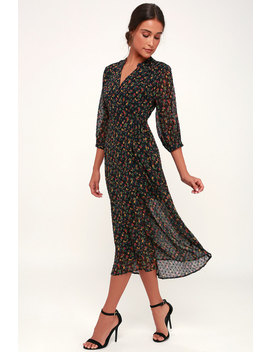 Go With The Flo Ral Black Floral Print Swiss Dot Midi Wrap Dress by Lush