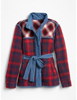 Plaid Patchwork Quilted Tie Belt Jacket by Gap