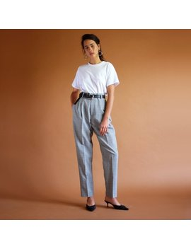 Glen Plaid Trousers, Vintage 90s Pants, Herringbone Tartan Trousers, High Rise Pleated Pants, Simple Minimal High Waisted Tapered Trousers by Shop Downhouse
