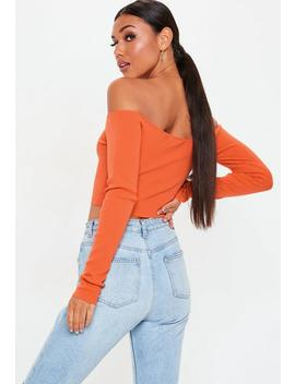 Orange Bardot Knitted Cropped Jumper by Missguided