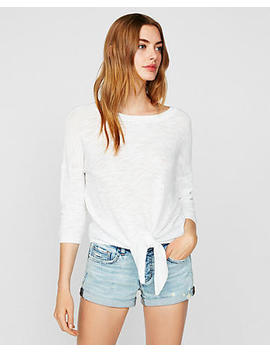Tie Front Pullover Sweater by Express