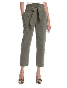 High Rise Utility Cotton Pants W/ Wrap Belt by Brunello Cucinelli