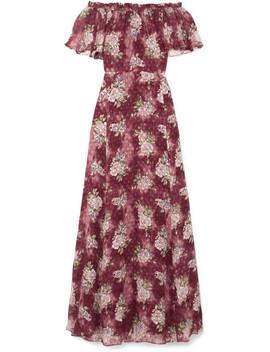 Evelyn Ruffled Fil Coupé Silk Blend Chiffon Maxi Dress by Love Shack Fancy
