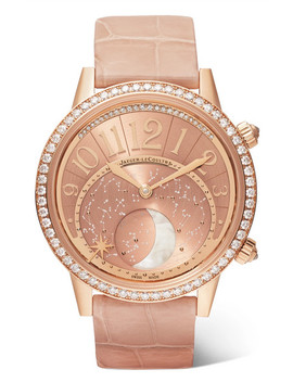 Rendez Vous Moon 36mm Rose Gold, Alligator And Diamond Watch by Jaeger Le Coultre