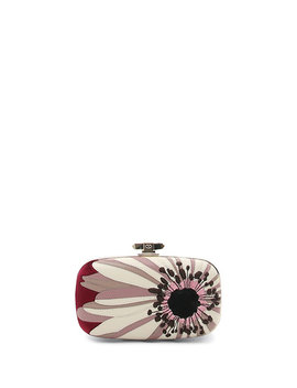 Flower Leather & Velvet Box Clutch Bag by Valentino Garavani