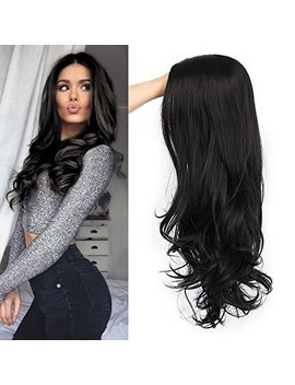 For Queens Black Wavy Wigs For Women Long Curly Wig Synthetic Party Wigs Middle Part Full Wigs Natural Looking by For Queens