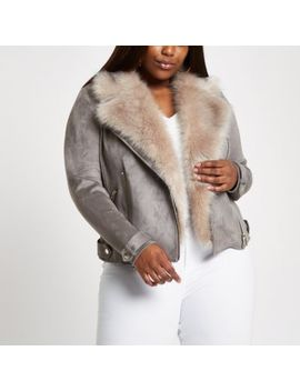 Plus Grey Faux Fur Collar Biker Jacket by River Island