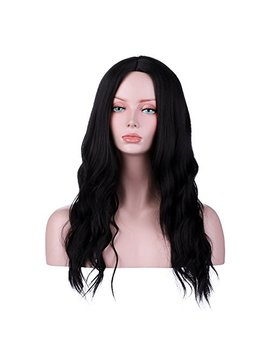 Yopo Natural Black Wigs Wavy Long Middle Part Hair Wig No Bangs Synthetic Full Heat Resistant Wigs For Women by Yopo