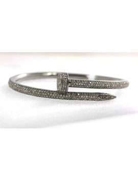 Nail Shape Diamond Silver Bracelet .925 Oxidized Sterling Silver Diamond Bracelet, Genuine Handmade Pave Diamond Bracelet. by Unique Lotus
