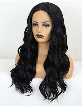 Persephone Soft Black Lace Front Wig Wavy Middle Part #1 B Wavy Synthetic Wigs For Black Women Glueless Body Wave Lace Black Wig 20 Inches... by Persephone Lace Wig