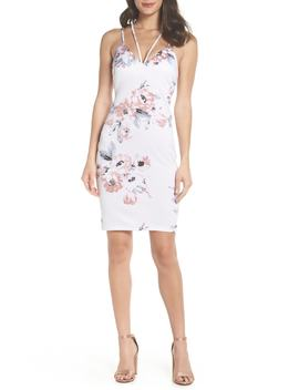 Floral Print Double Strap Scuba Dress by Sequin Hearts