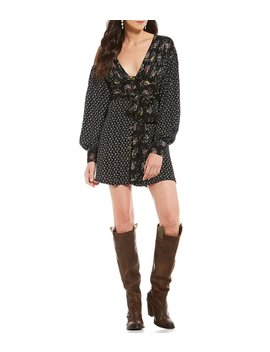 Wonderland Ditsy Floral Print V Neck Puff Sleeve Western Inspired Belted Mini Dress by Free People
