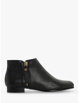 Dune Pandders Zipped Ankle Boots, Black Leather by Dune