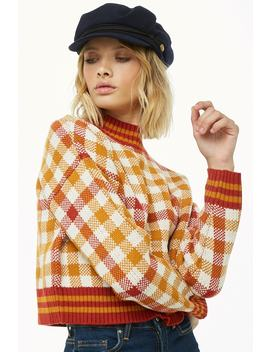mock-neck-plaid-sweater by forever-21