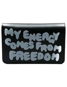 Slogan Print Flap Wallet by Comme Des Garçons Wallet