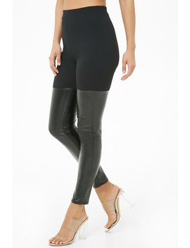 High Rise Faux Leather Leggings by Forever 21