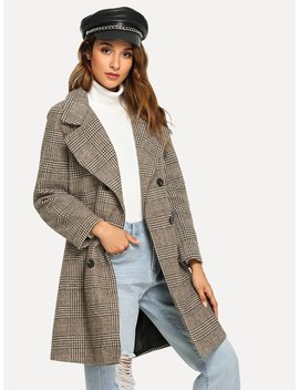 Double Breasted Wales Check Coat by Romwe