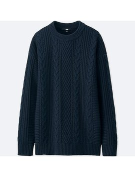 Women Cable Knit Long Sweater by Uniqlo