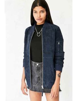 Obey Suede Bomber Jacket Blue Zip Up Size Large Womaens by Ebay Seller