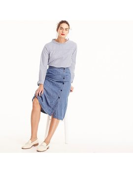 Petite Side Button Skirt In Chambray by J.Crew