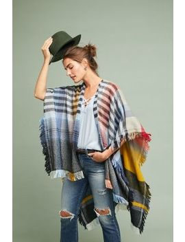 Ruana Fringed Printed Kimono by Anthropologie