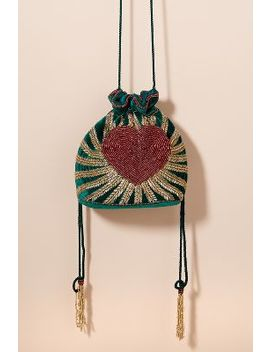 Heart Beaded Velvet Drawstring Bag by From St Xavier