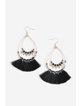 **Facet Bead Tassel Drop Earrings by Topshop