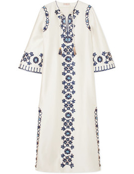 Ariana Embellished Silk And Cotton Blend Maxi Dress by Tory Burch