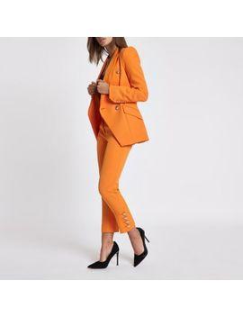 Orange Gold Tone Button Cigarette Trousers by River Island