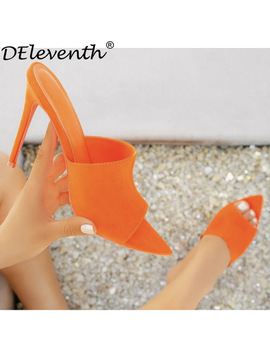 D Eleventh Simmi Ego Briana Bitch Ins Hot Pointy Stiletto High Heel Slippers Sandals Woman Shoes Candy Orange Blue Green Nude Blc by D Eleventh