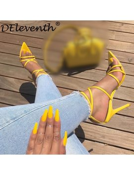 D Eleventh New Designer Brand Fashion Pointed Toe Nichole High Heels Sandals Gorgeous Party Wedding Shoes Simmi Ins L Illy Yellow by D Eleventh