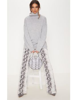 Grey High Neck Fluffy Knit Jumper  by Prettylittlething