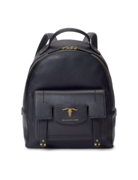 Steer Head Leather Backpack by Ralph Lauren