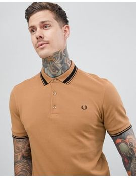 Fred Perry Tipped Polo In Camel by Fred Perry