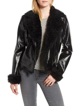 Faux Patent Leather With Faux Shearling Trim Moto Jacket by Kensie