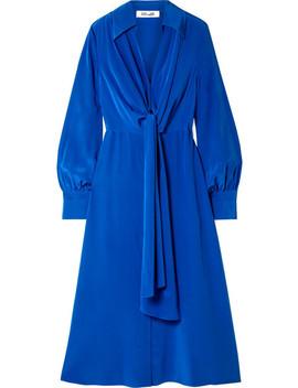 Tie Front Silk Crepe De Chine Midi Dress by Diane Von Furstenberg